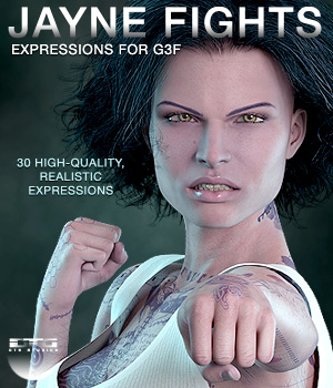DTG Studios' Jayne Fights Expressions for G3F 3D Figure Essentials DTHUREGRIF