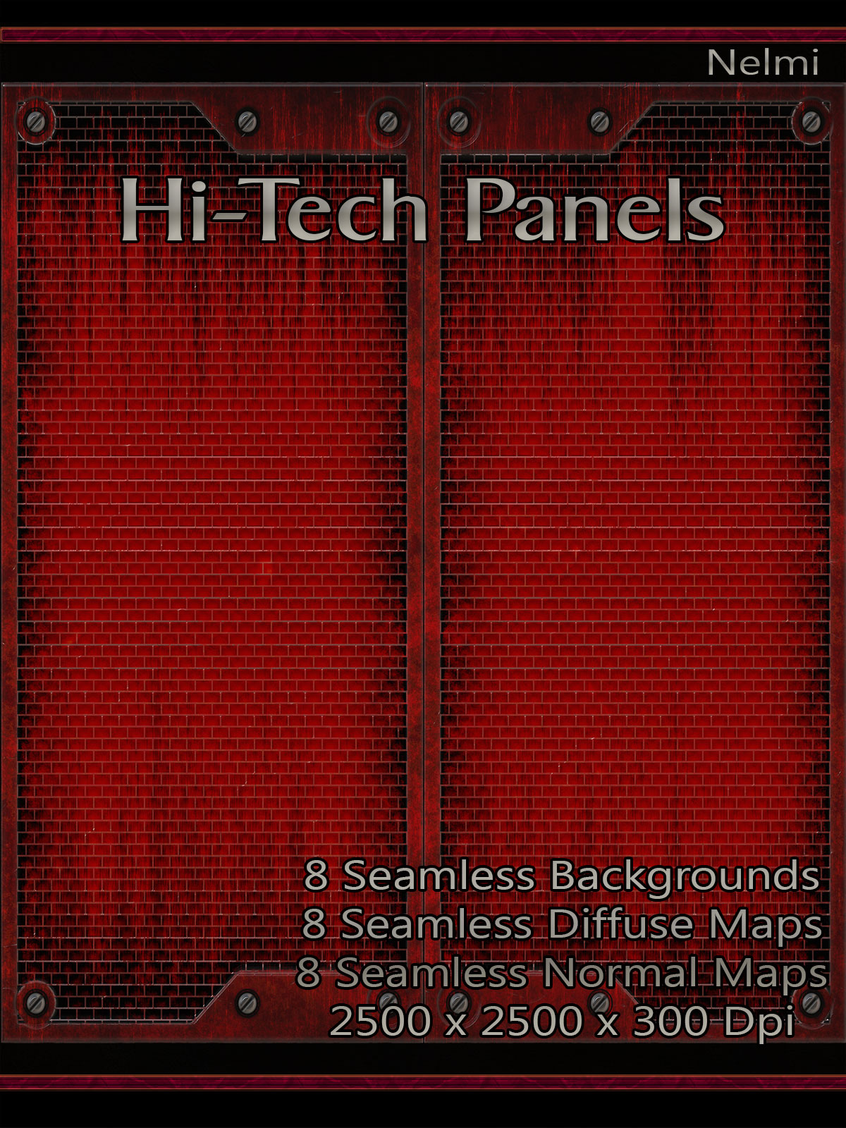 8 Seamless High-Tech Metal Panels with Texture Maps
