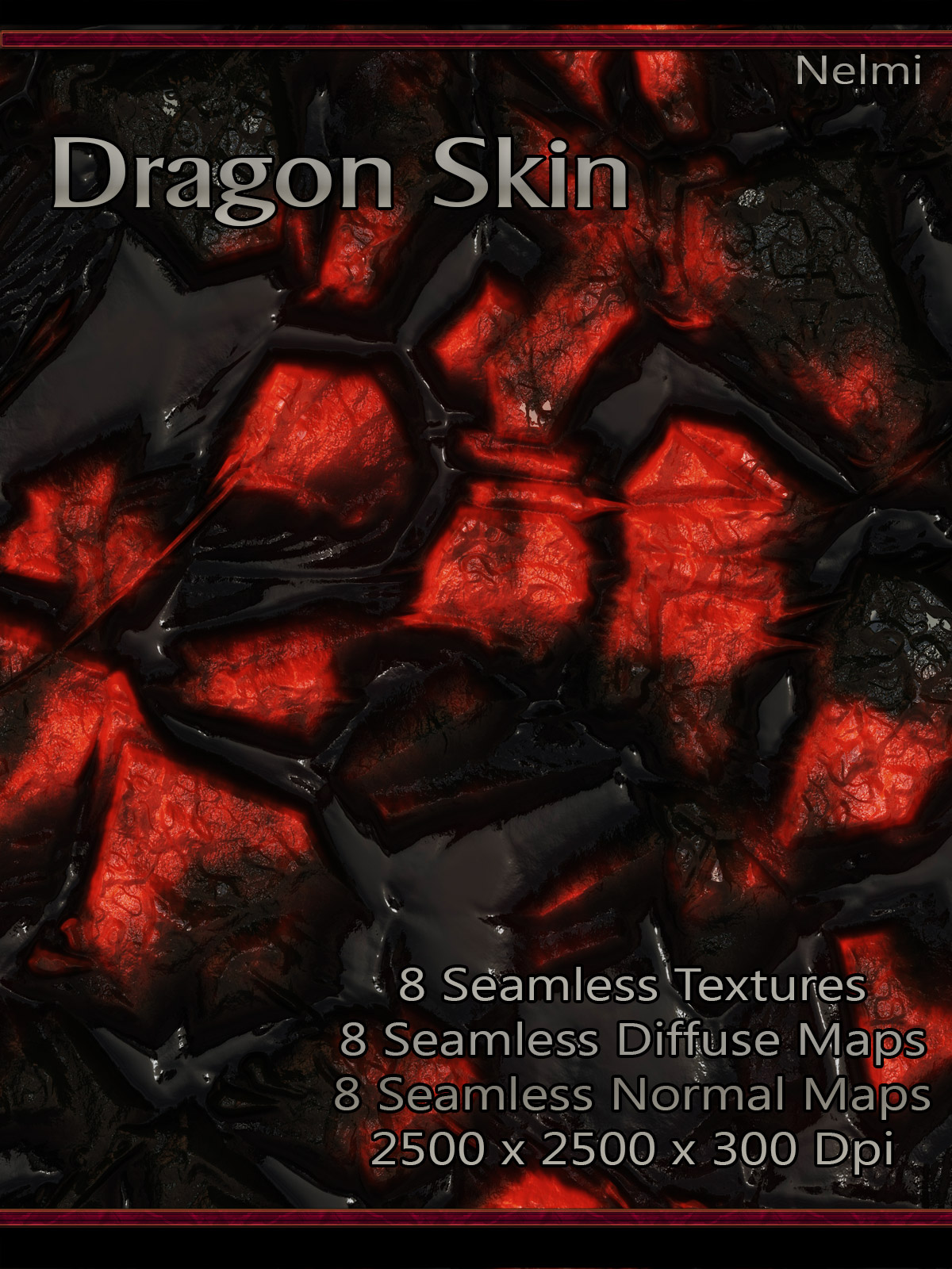 8 Dragon Skin Seamless Textures with Normal and Diffuse Maps