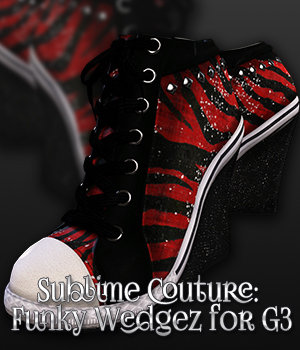 SublimeCouture: Funky Wedgez for Genesis 3 Female(s) 3D Figure Essentials 3DSublimeProductions