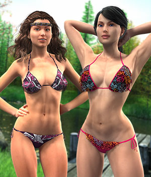 Breakwater Textures for G2F Frilly Triangle Bikini 3D Figure Assets versluis