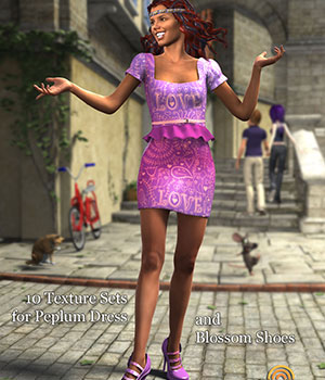 Cardozo Textures for G2F Peplum Dress and Blossom Shoes 3D Figure Assets versluis