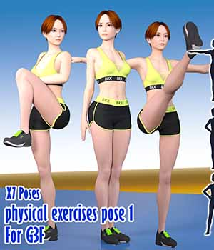 X7 Poses physical exercises pose 1 For G3F 3D Figure Essentials x7