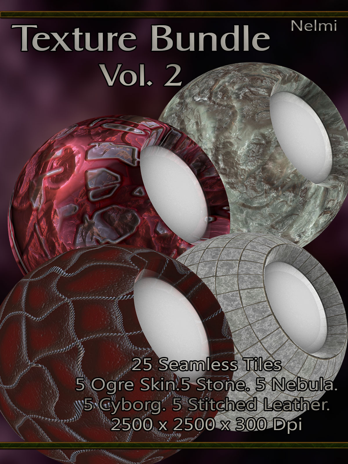Texture Bundle Vol 2: Cyborg, Stone, Ogre Skin, Nebula, Stitched Leather