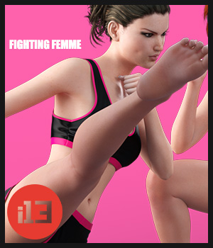 i13 fighting FEMME for the Genesis 3 Female(s) 3D Figure Assets ironman13