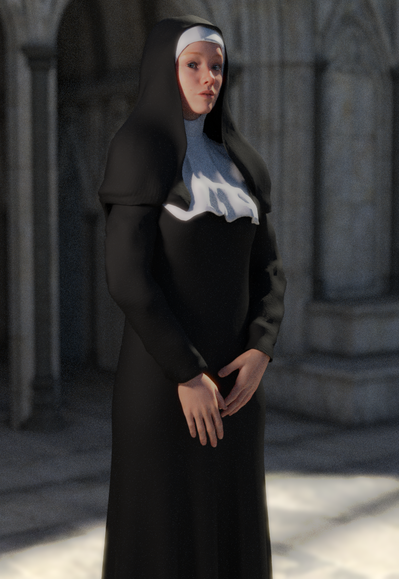 Nun Outfit for Genesis 3 Female(s) by Toyen
