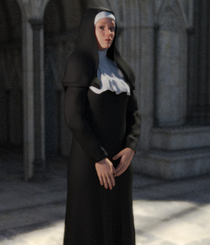 Nun Outfit for Genesis 3 Female(s) 3D Figure Assets Toyen
