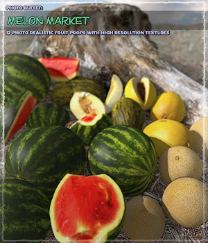Photo Buffet: Melon Market - Extended License 3D Models Extended Licenses ShaaraMuse3D
