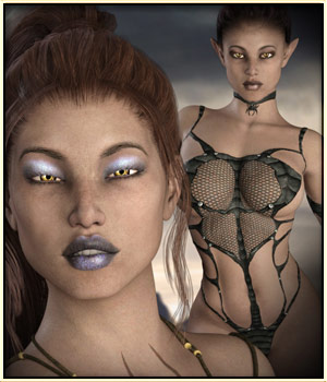 Dark Elven Beauty for G3F 3D Figure Essentials vyktohria