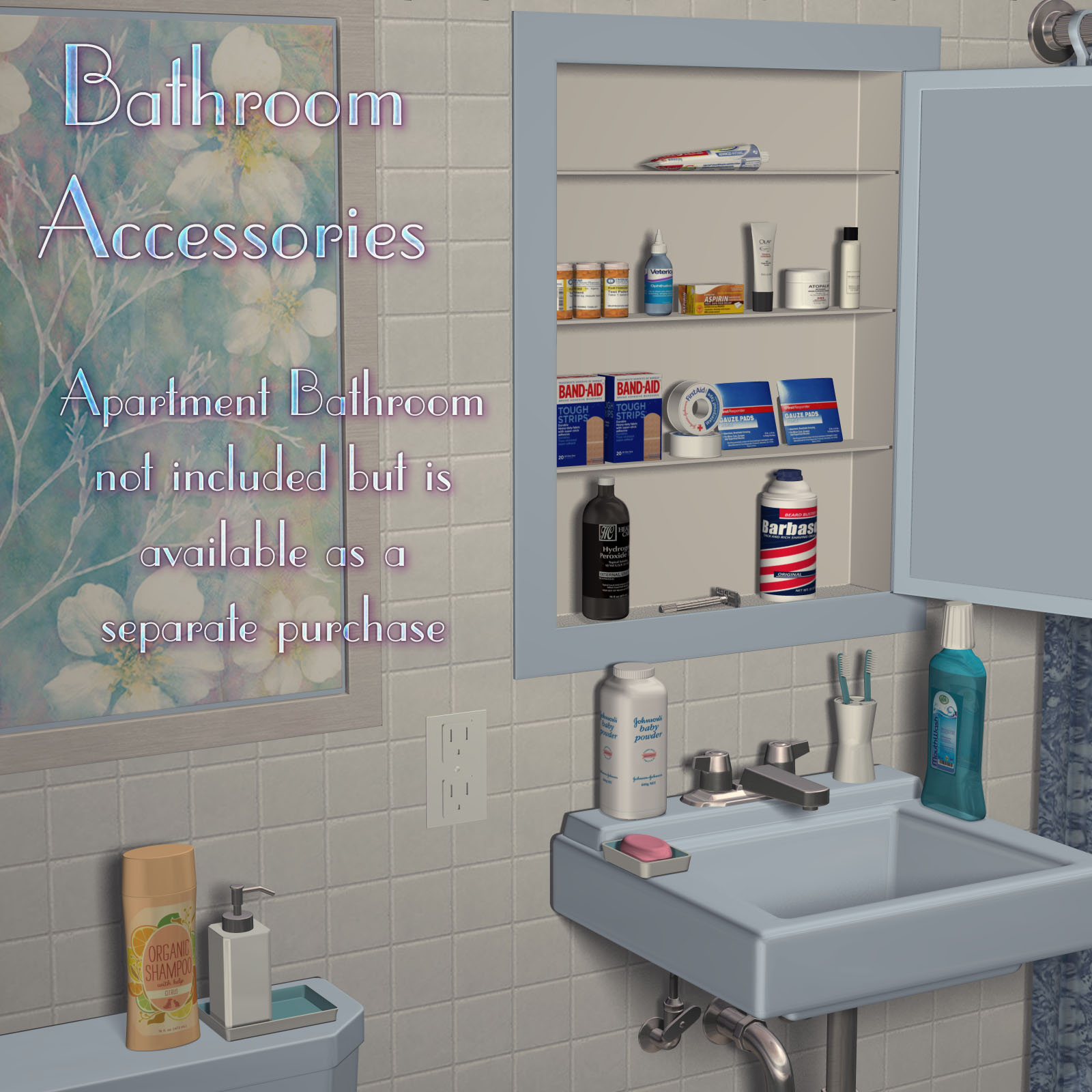 Bathroom accessories set 3d models richabri for 3d bathroom accessories