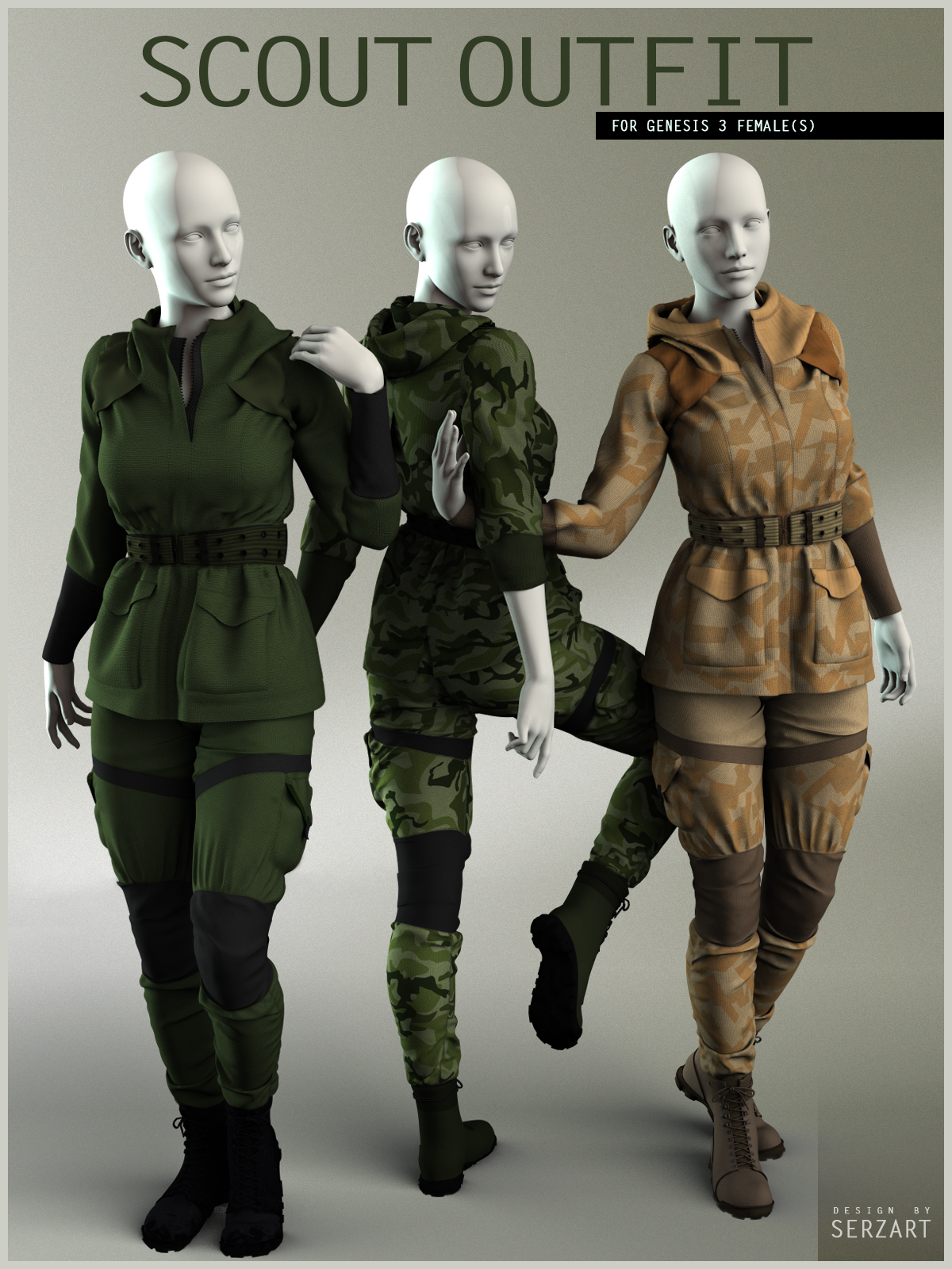 Scout Outfit for Genesis 3 Female