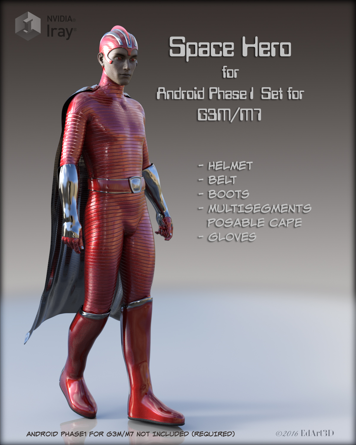 Space Hero for Android Phase1 Set for G3M/M7 3D Figure Assets