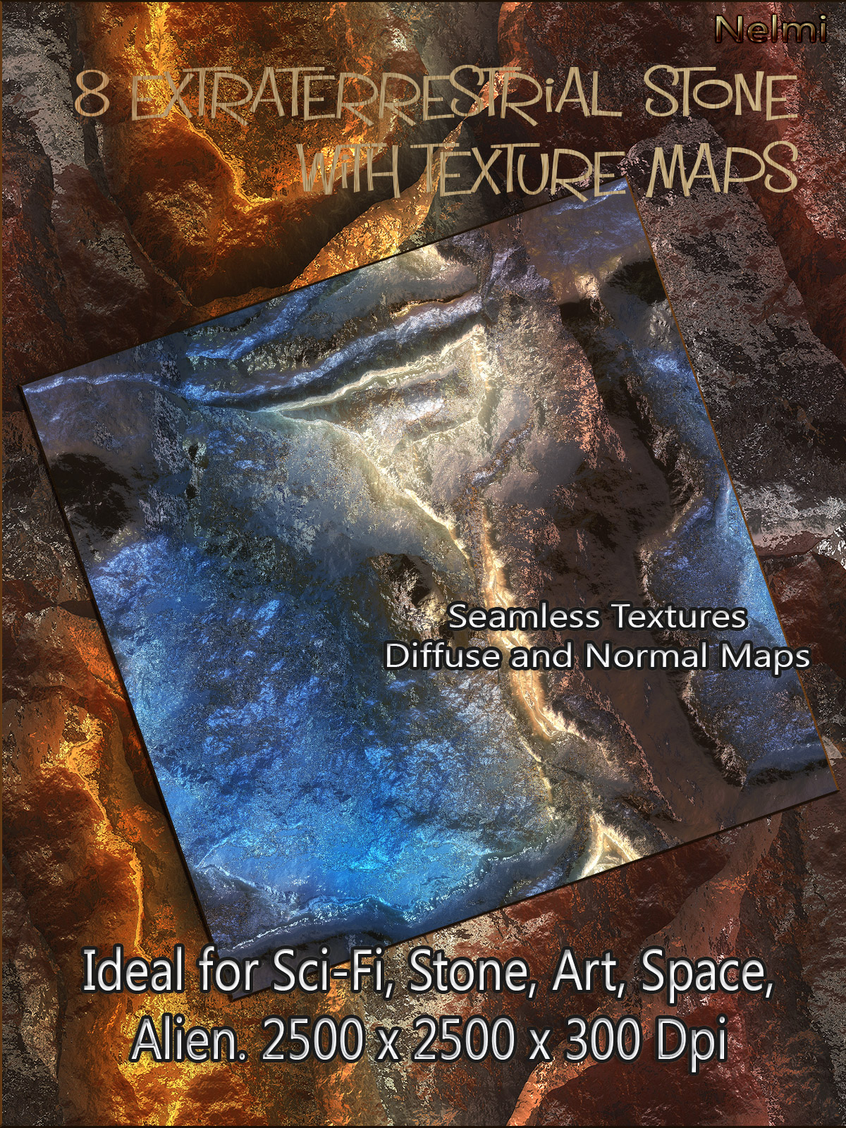 8 Seamless Extraterrestrial Stone Textures with Texture Maps: Diffuse and Normal