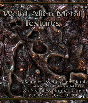 8 Seamless Weird Alien Metal Textures with Normal and Diffuse Maps