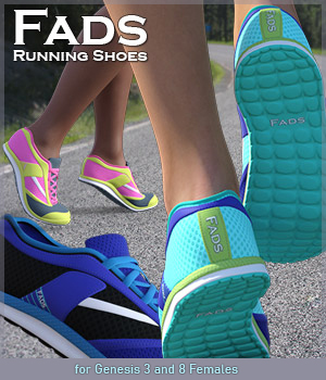 FADS Tennis and Running Shoes for G3F 3D Figure Assets RPublishing
