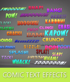 SUPERHERO Comic Text Effects 3D Models TruForm
