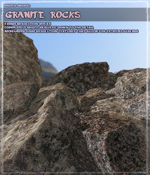 Photo Props: Granite Rocks - Extended License 3D Models Gaming Extended Licenses ShaaraMuse3D