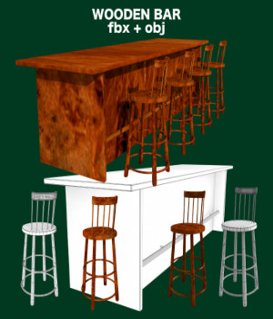 Bar and Stool fbx and obj 3D Models uncle808us