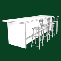 Bar and Stool fbx and obj image 8