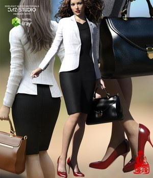 Business Outfits Package for Genesis 3 Females 3D Figure Essentials RainbowLight