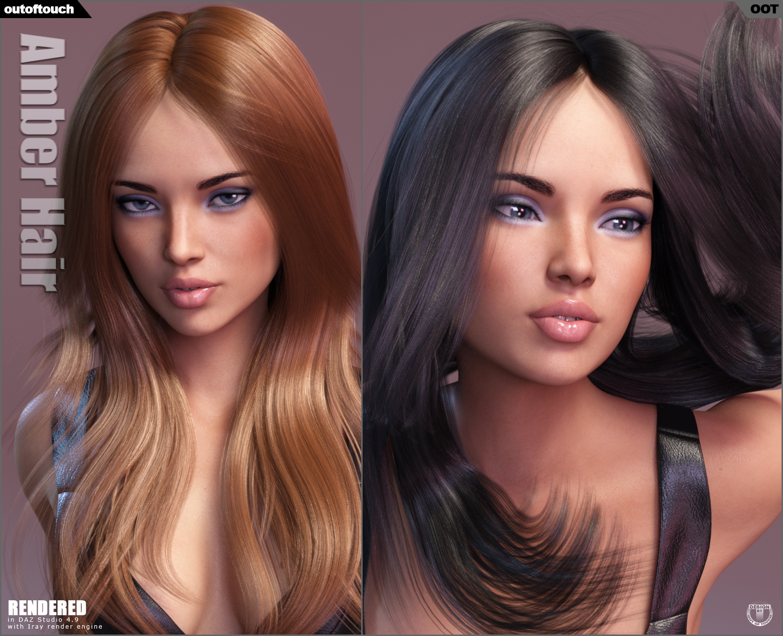 Amber Hair for Victoria 4, Genesis 2 Female(s) and Genesis 3 Female(s)