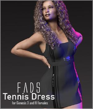 Fads Tennis Dress for Genesis 3 3D Figure Assets RPublishing