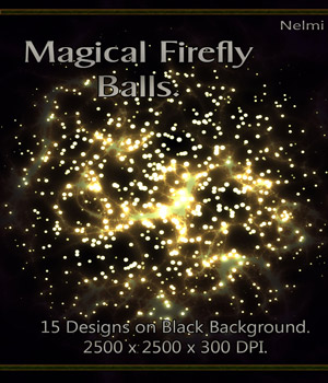 Magical Firefly Balls - 15 Designs on Black Background.