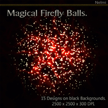 Magical Firefly Balls - 15 Designs on Black Background. image 1