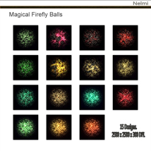 Magical Firefly Balls - 15 Designs on Black Background. image 2