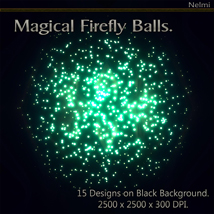 Magical Firefly Balls - 15 Designs on Black Background. image 3