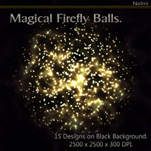 Magical Firefly Balls - 15 Designs on Black Background. image 4