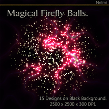 Magical Firefly Balls - 15 Designs on Black Background. image 5