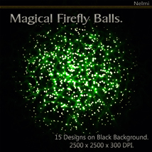 Magical Firefly Balls - 15 Designs on Black Background. image 7