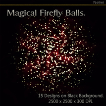 Magical Firefly Balls - 15 Designs on Black Background. image 8