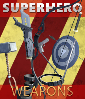 Superhero Weapons 3D Models TruForm