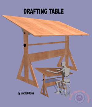 Drafting Table FBX + OBJ 3D Models uncle808us