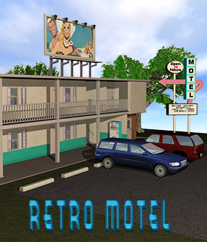 Retro-Motel Building Set 3D Models Richabri