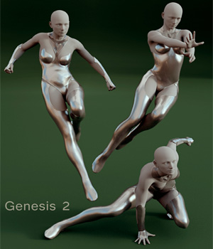 Superhero Poses for Genesis 2 & Victoria 6 3D Figure Assets LeoLee