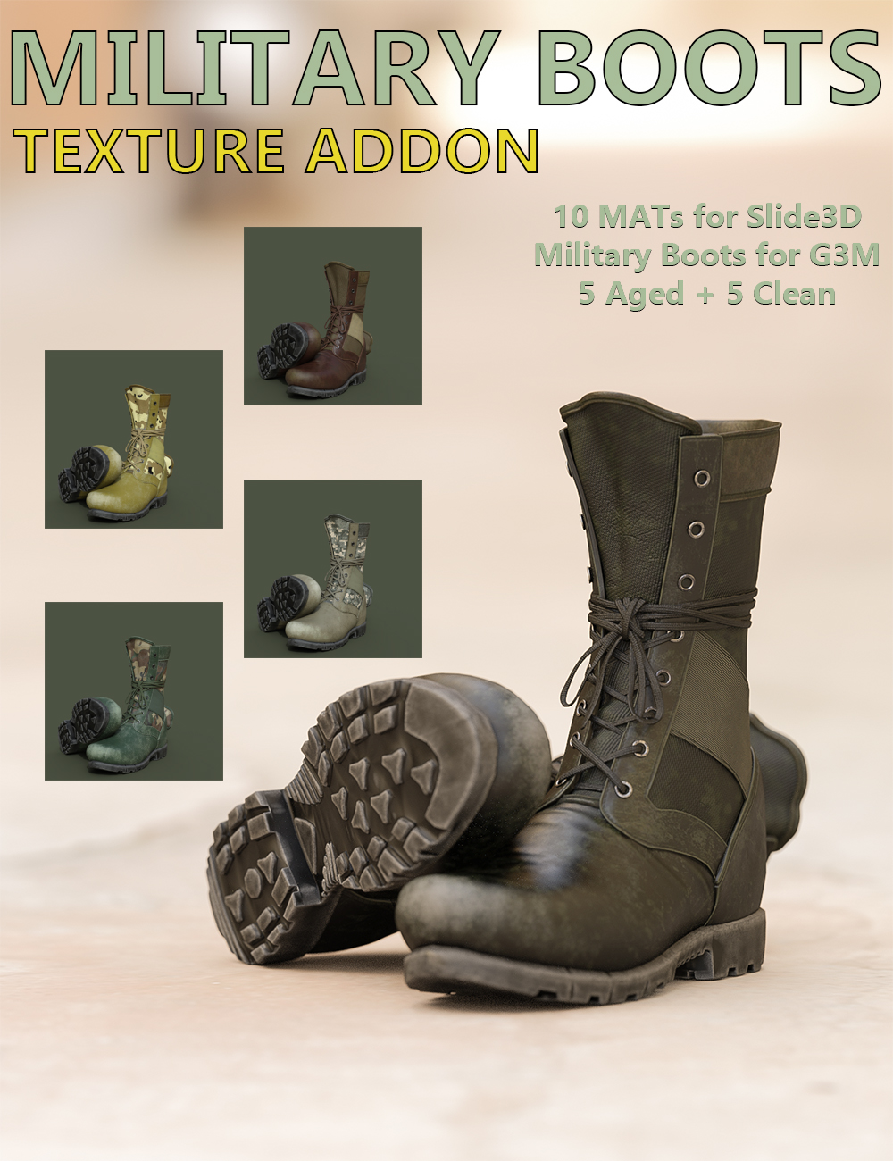 Slide3D Texture Addon for Military Boots for Genesis 3 Male(s) by Slide3D