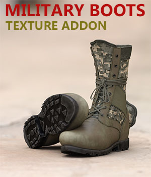 Slide3D Texture Addon for Military Boots for Genesis 3 Male(s) 3D Figure Assets Slide3D