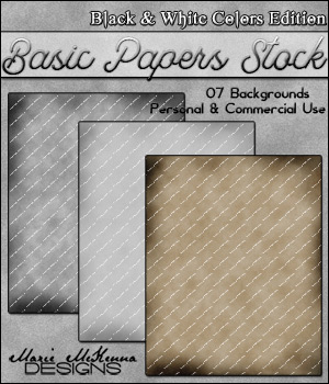 Basic Papers Stock | Black & White Colors Edition 2D Graphics MarieMcKennaDesigns