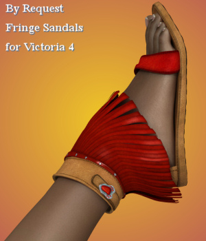 By Request : Fringe Sandals for V4 3D Figure Assets Karth