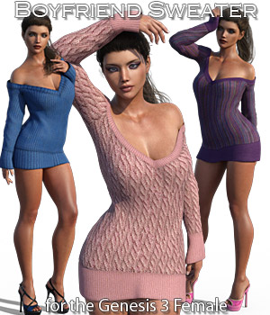 Boyfriend Sweater for Genesis 3 Female 3D Figure Assets Rhiannon