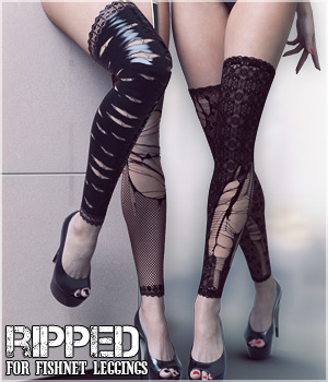 Ripped for Fishnet Leggings 3D Figure Assets lilflame