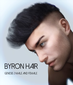 Byron Hair for Genesis 3 Males and Females 3D Figure Assets RedzStudio