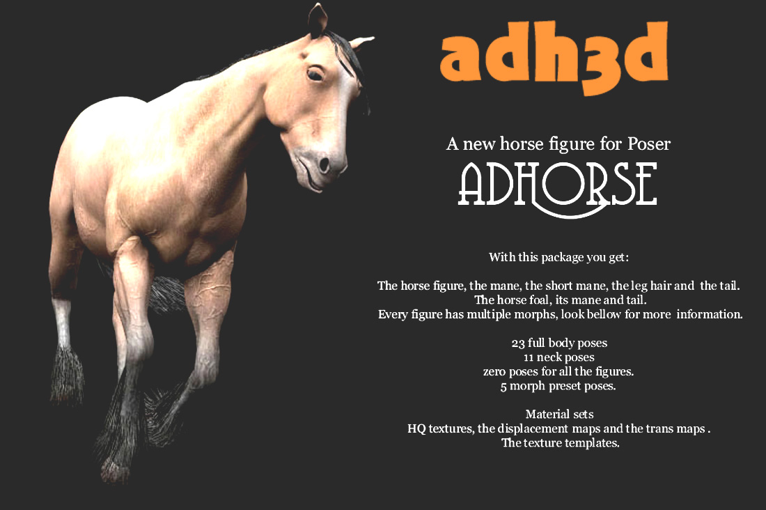 adHorse: A new horse figure for Poser - Extended License