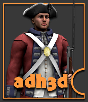 American Revolution soldiers - Extended License 3D Models 3D Figure Essentials Gaming Extended Licenses adh3d