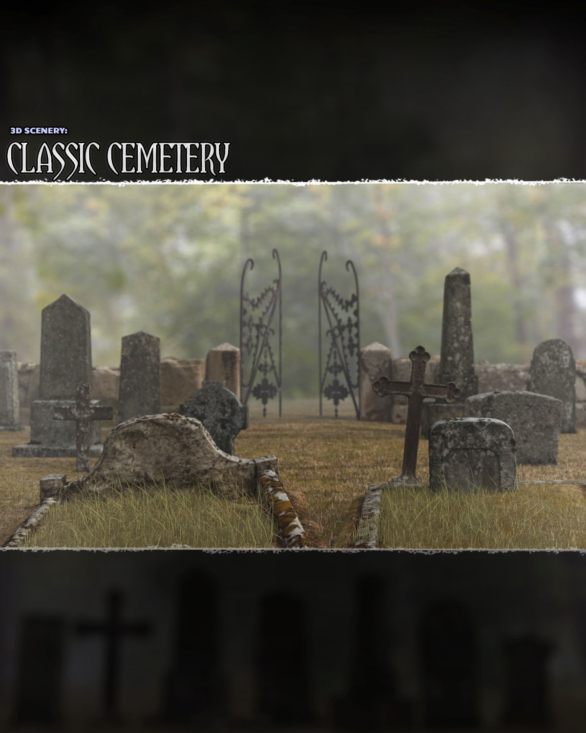 3D Scenery: Classic Cemetery  - Extended License