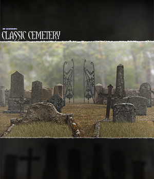 3D Scenery: Classic Cemetery  - Extended License 3D Models Extended Licenses ShaaraMuse3D