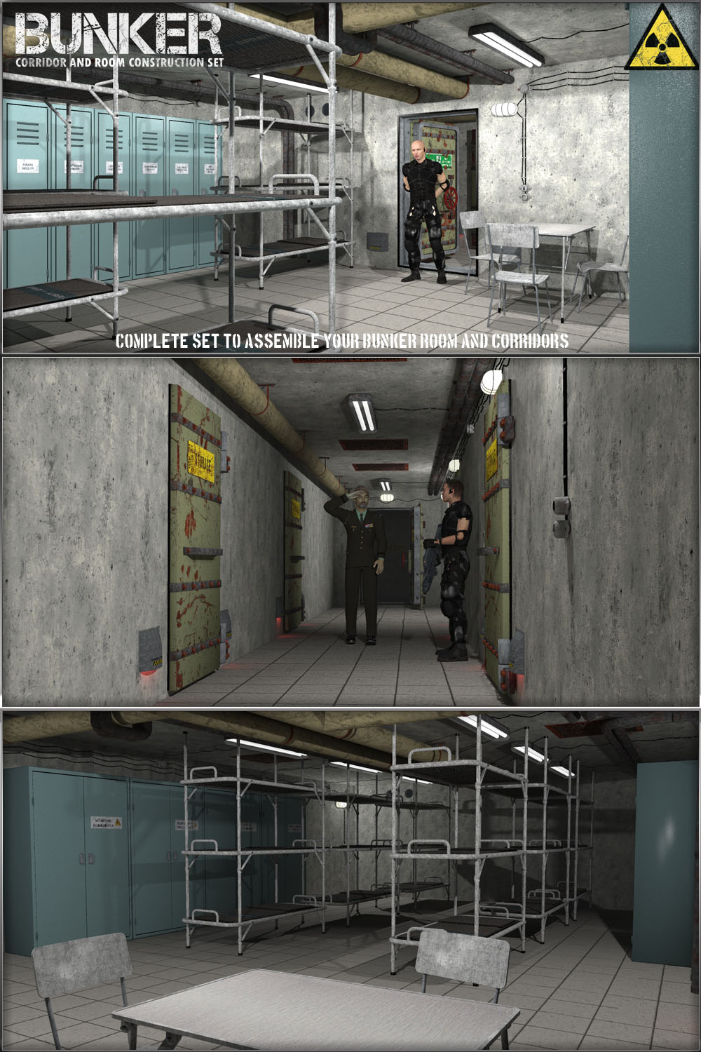 Bunker: S2 - Corridor and Room Construction Set by 3-d-c